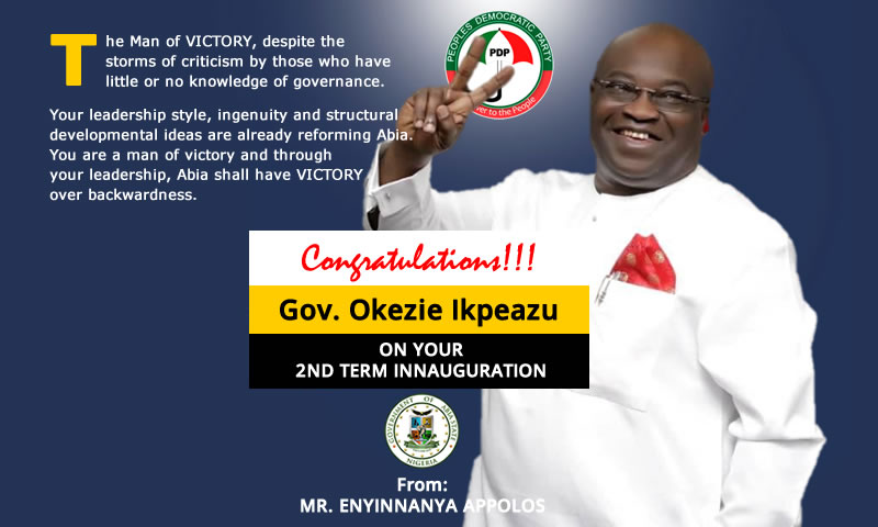 Congratulations to the Governor of Abia State